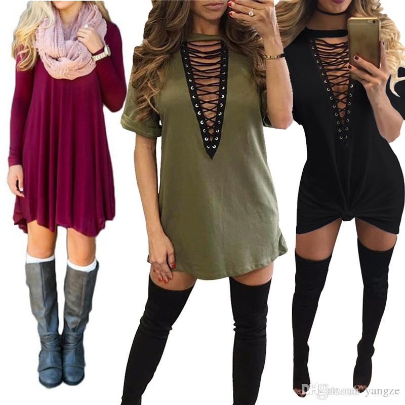 Dresses for Women Clothes Fashion Long Sleeve Autumn Casual Loose V Neck T-Shirt Tunic Dress Stretchy Soft S M L XL QZ957
