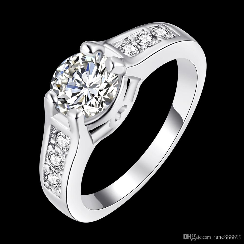 Romantic Women And Men Silver Plated Ring Female Couple Rings Women Cz  Diamond Jewelry Hollow Love