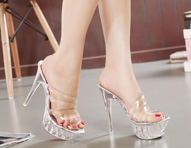 Plus Size 35-43 14cm High Heels Crystal Women Sandals Hollow Out Platform Crystal Heels Women Fashion Slippers