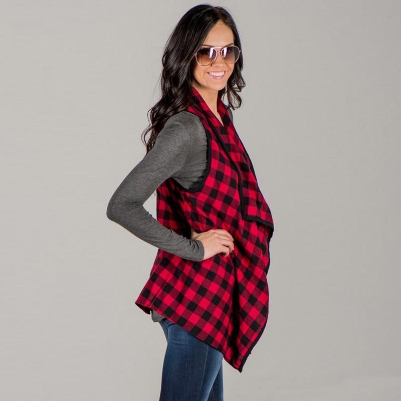 여성 격자 무늬 천 조끼 민소매 재킷 봄 가을 패션 옷깃 얇은 코트 체크 무늬 착실히 보내다 Feminino 탑