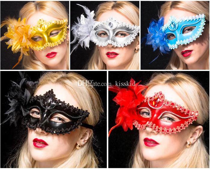 10pcs maschere veneziane maschere mascherate maschere facciali maschere di halloween festa di ballo multi colori rosso / oro / argento