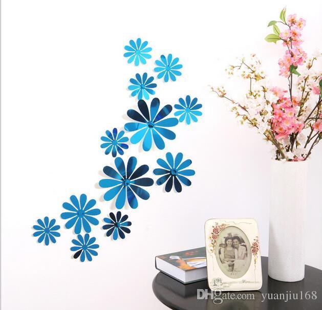 Three - dimensional mirror chrysanthemum art wall stickers children 's room wedding party wild simple decoration 12pcs/set G708