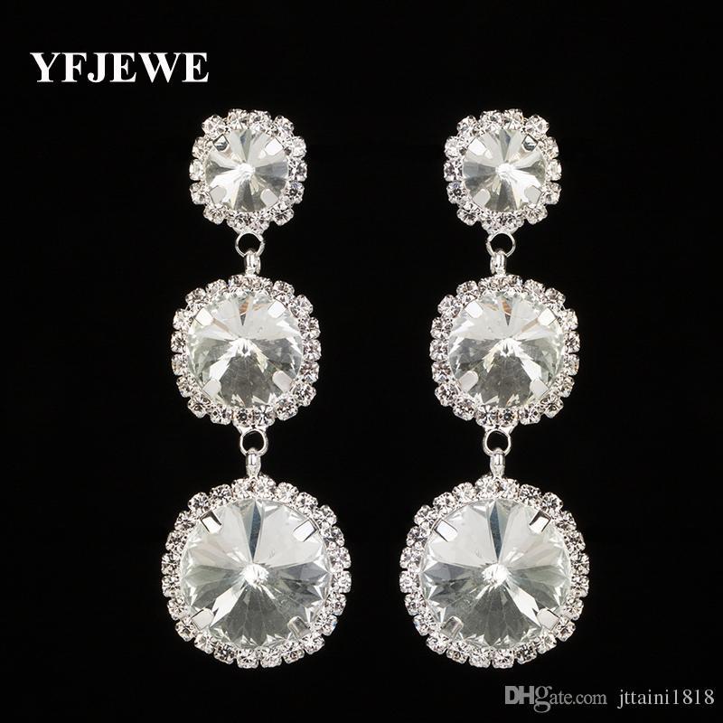YFJEWE Nuovo arrivo gioielli di alta qualità strass di cristallo orecchino di goccia per le donne gioielli moda regalo di nozze per le ragazze E293