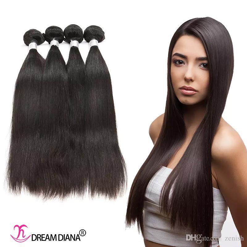 Estensioni dei capelli umani Capelli brasiliani Dritto I capelli vergini non trasformati per capelli vergini 3 o 4 bundles Colore naturale Same Direction Cuticle Grado 10A