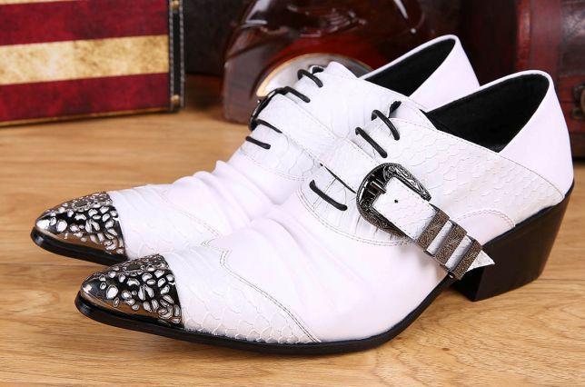 6.5CM Tacco alto uomo Scarpe a punta in punta di ferro bianco Britannico scarpe da uomo in pelle Party e scarpe da sposa Uomo Chaussures Hommes, Big US6-12