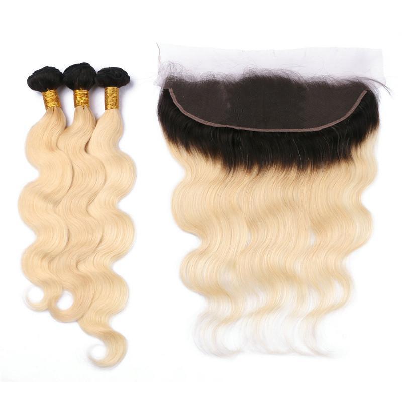 Gros T1B / 613 Blonde Ombre Brésilienne Vierge Vierge Cheveux Bundles 3 Pcs Avec Vague de Corps Racines Noires Blonde Ombre Full Lace 13x4 Frontale