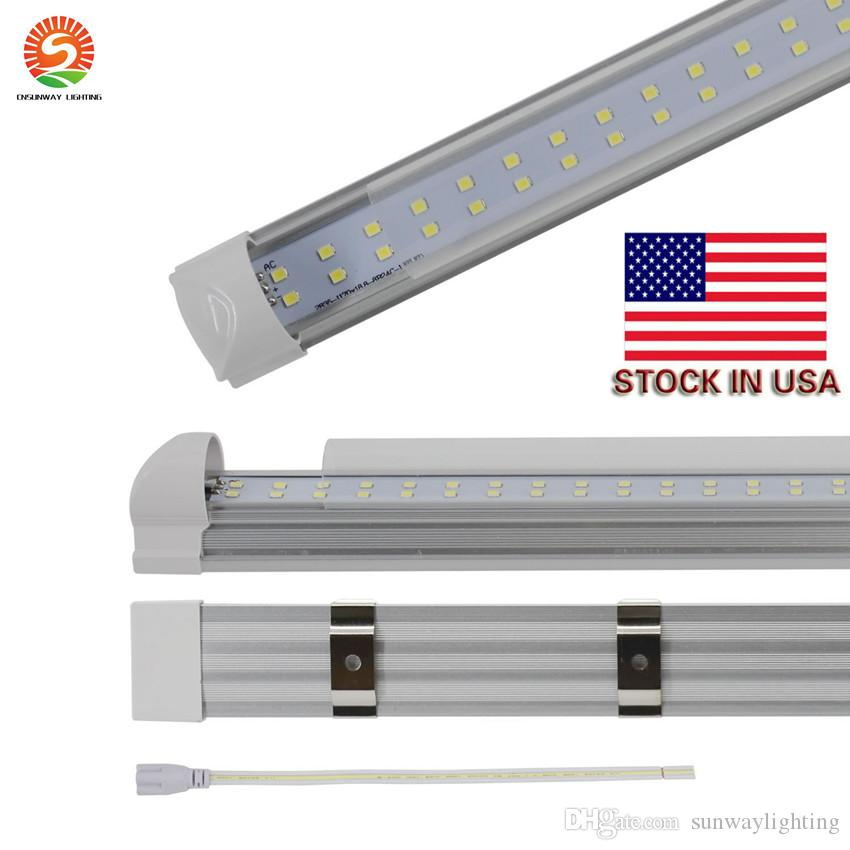 8FT LED T8 Tubes Double Row 8 Foot T8 Integrated LED Light Bulbs 65W 72W  7200LM 2 4M SMD2835 Led Fluorescent Lighting Lamps Led Tube Lights Price