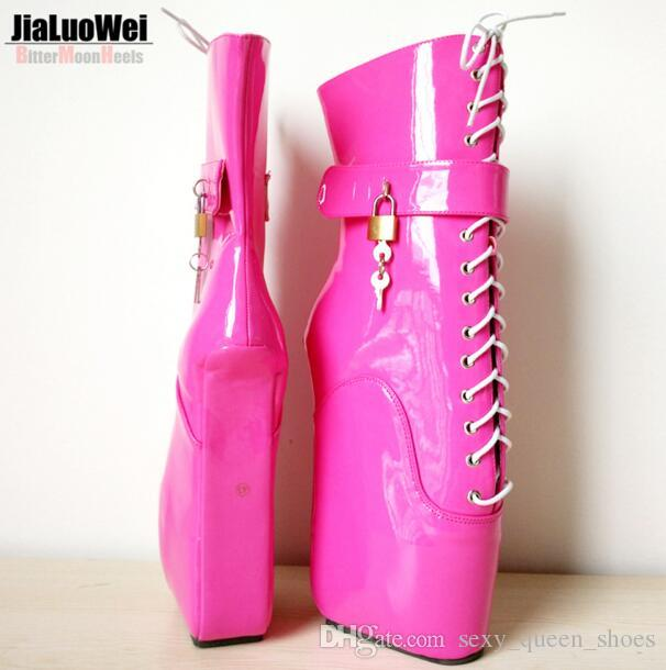 2018 New Women Sexy Fetish Ballet Boots Pony Hoof heeless Wedges High-heeled Ankle Boots Lace Up Buckle High Heel Platform Man Cosplay Shoes