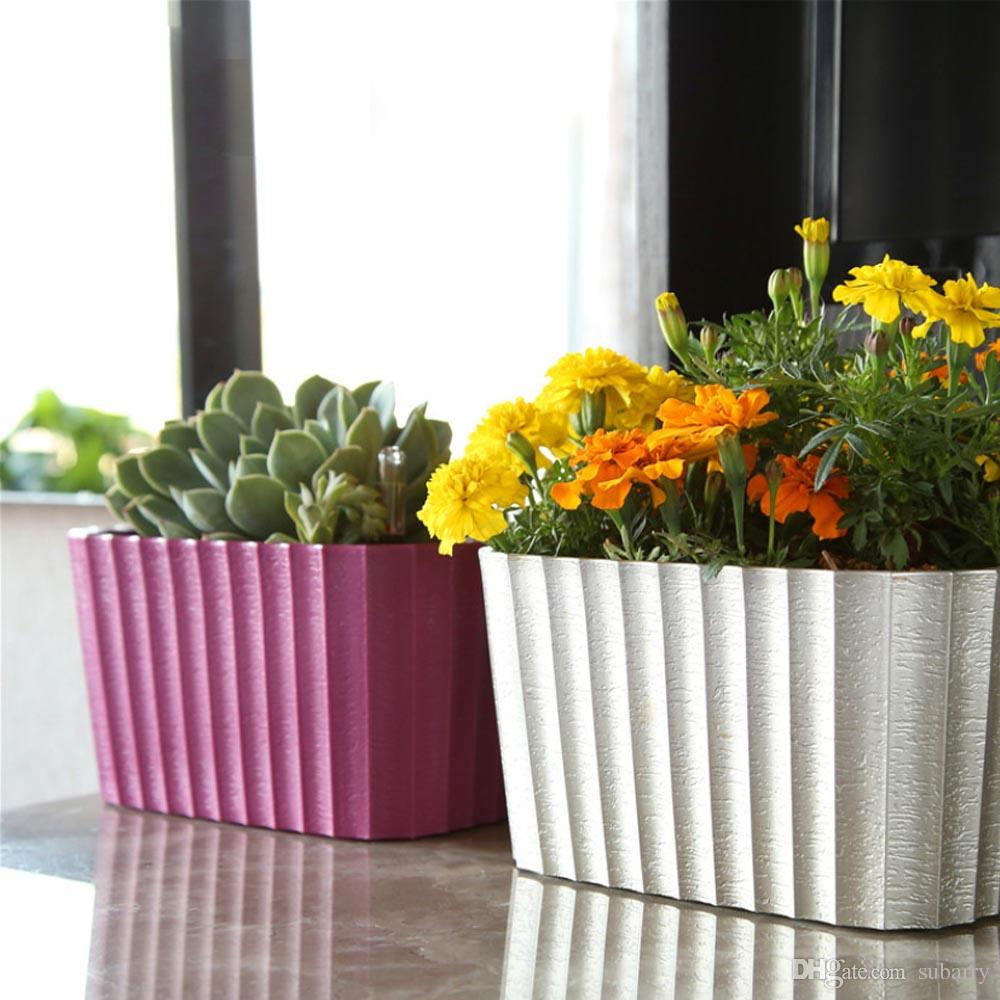DHgate.com & 2019 Paint Coating Square Shaped Self Watering Desktop Planter Window Box Plant Flower Pot For Office Home Garden Decoration From Subarry \u0026Price; | ...