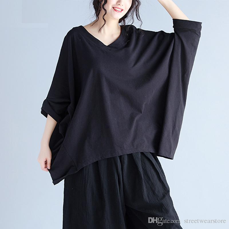 Kadın T-Shirt Artı Boyutu V Yaka Batwing Kol Yaz Tarzı Keten TopsTees Kadın Moda Rahat Gevşek Büyük Boy T-Shirt Siyah