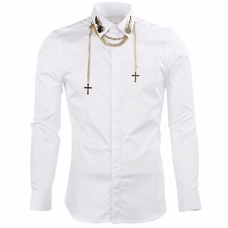 체인 슬림 피트 남성 드레스 셔츠 캐주얼 슈 옴므 Camisas 험 브레 블랙 럭셔리 남성 셔츠 브랜드 긴 소매 셔츠 남자