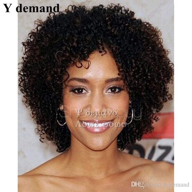 Charme Curto BOB Afro Kinky Curly Peruca Preto Nenhum Laço Barato Perucas Em Linha Peruca Sintética Perucas Para Venda Em Estoque