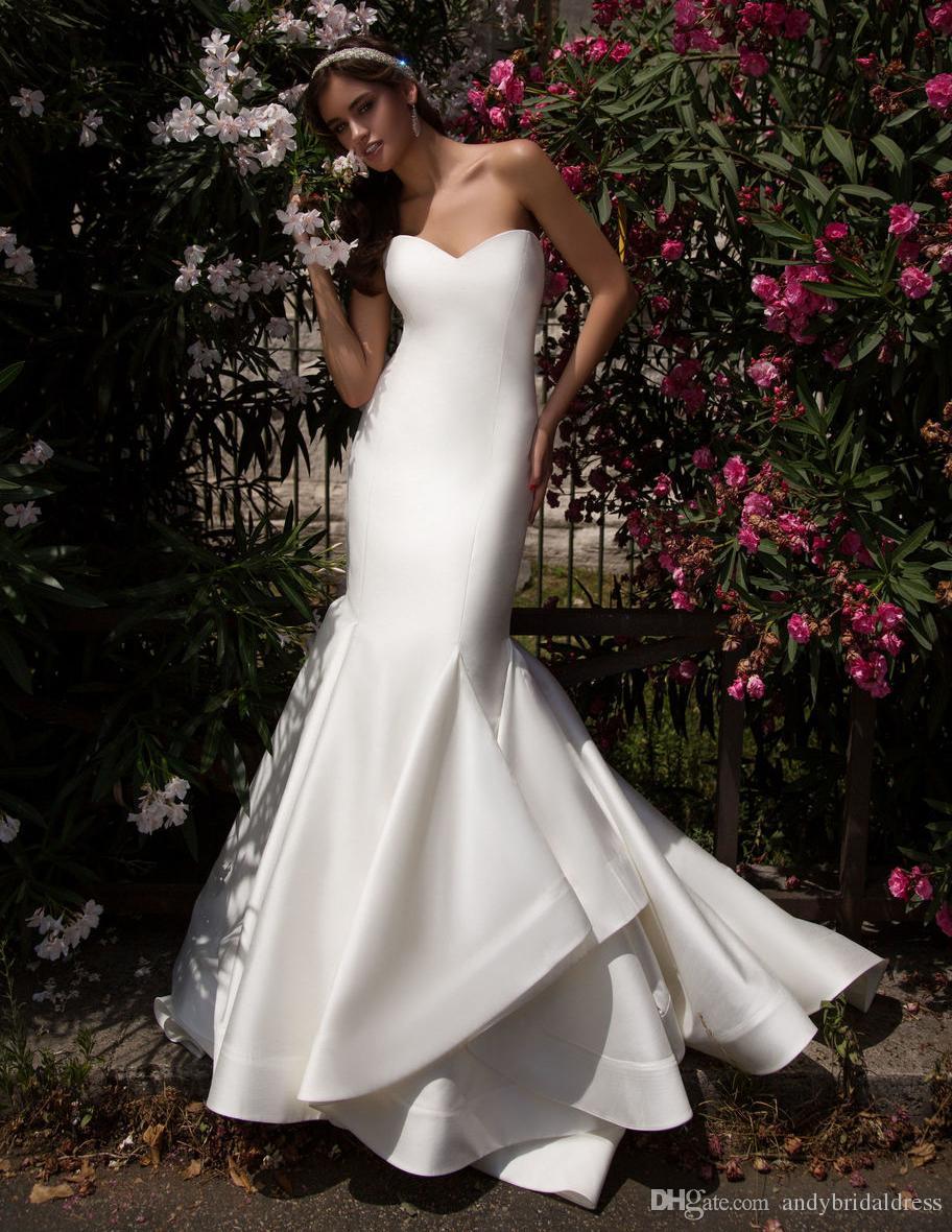 Robes De Mariée Sirène De Jardin Robes De Mariée Volants Longueur De Plancher Satin Designer Robes De Mariée Pour La Mariée