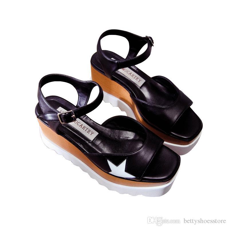 High Quality Handmade 100% Real Leather High heel flats shoes STAR Wedge PLATFORM Sandals Summer women derby Platform Shoes