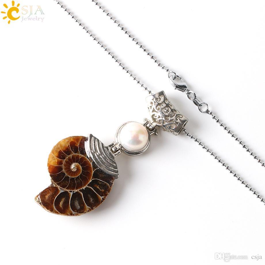 CSJA 1Pc Collar de piedras preciosas naturales Ammonite Fossil Conch Shell colgante Amethyst Tiger Eye Opal perlas Lapis Lazuli cuentas de piedras joyería E256 B