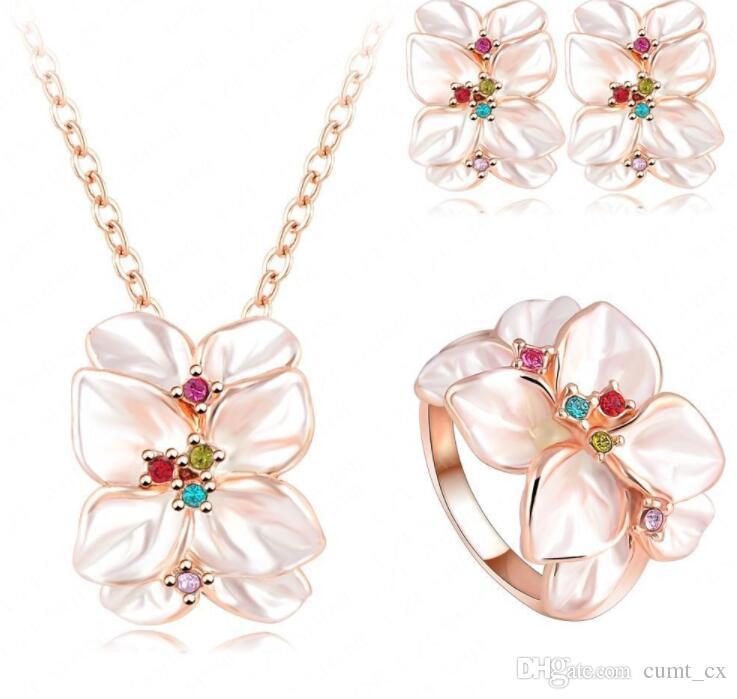 Conjunto de joyas Rose Gold Color Cristal austriaco Pendiente de esmalte / Collar / Anillo de flores Set Elige el tamaño del anillo Envío gratuito