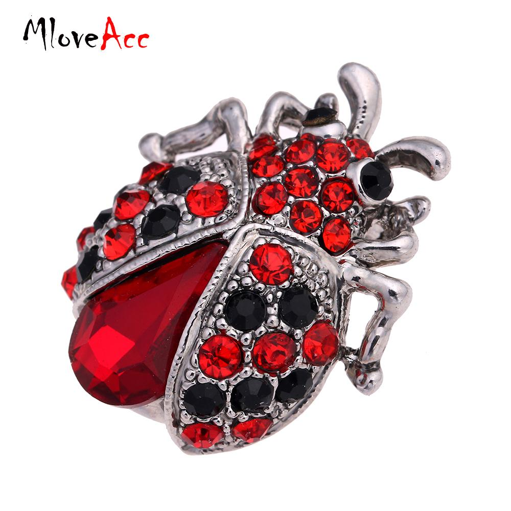 Wholesale- MloveAcc Vintage Jewelry Insects Corsage Red Antique Silver Crystal Brooches Bouquet Brooch Pins for Women Clips