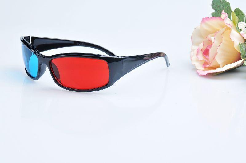 300pcs / lot # occhiali 3D caldi rosso blu ciano 3D visione stereo occhiali 3D TV spedizione gratuita 0001