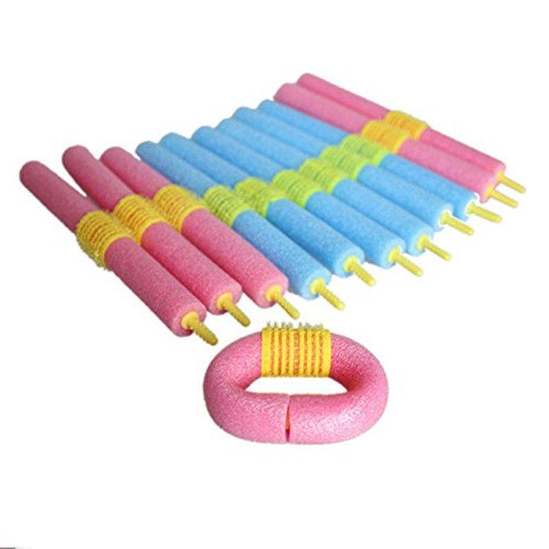 12Pcs Head plug design Sponge Hair Curlers Makers Soft Foam Hair Rollers Bendy Twistee Set