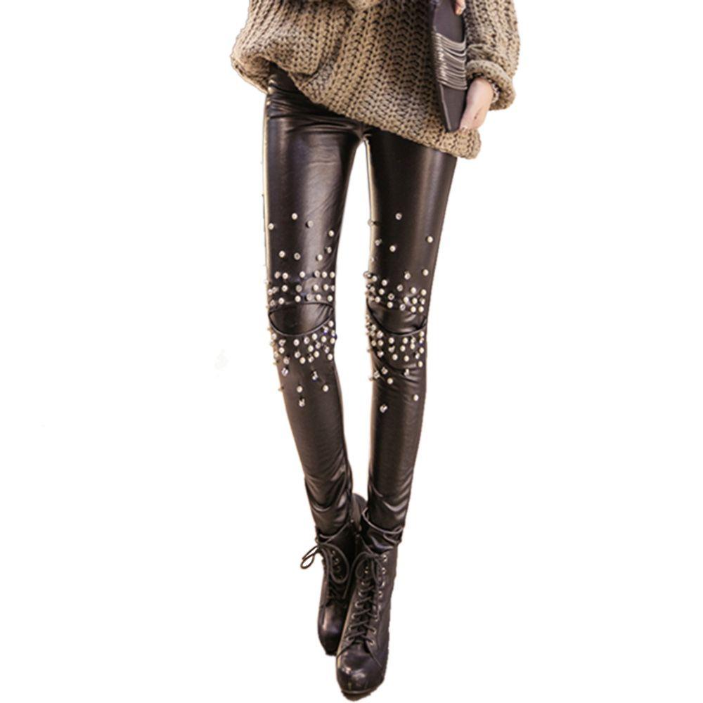 Toptan-Bayan Lady Slim Skinny Faux Deri Tayt Pantolon Pantolon Inci Rhinestones Seksi Punk 904-246