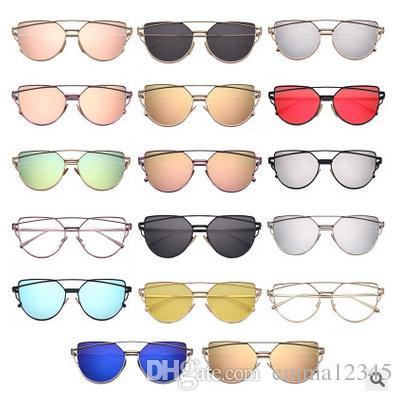 Moda Cat Eye Óculos De Sol Das Mulheres Da Marca de Moda Subiu Espelho de Ouro Óculos de Sol Único Senhoras Planas Óculos De Sol Oculos UV400