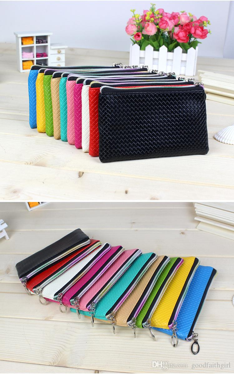 3PC New Fashion Pu Leather Coin Purse Women Wallet Daily Storage Change Purse Plaid Clutch Drop shipping Ladies Handbag Free shippng