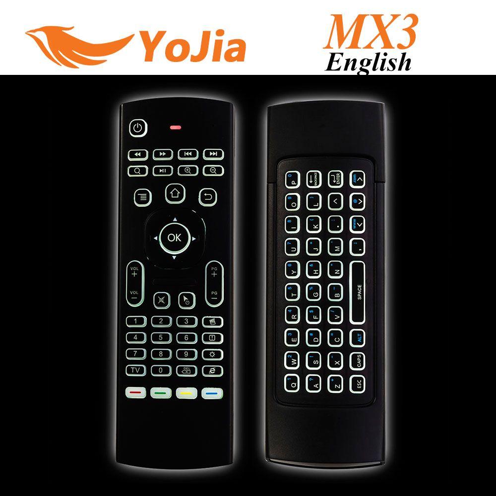 10pcs X8 Air fliegen Maus MX3 2,4 GHz Wireless-Tastatur Fernbedienung Somatosensory IR-Lern 6 Achse ohne Mic für Android TV Box