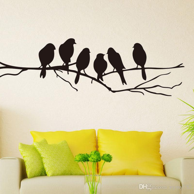 Cool Graphics Birds Branch Wall Stickers Vinyl Personality Art Decals  Bedroom Living Room Home Decor Art DIY White Vinyl Wall Decals White Wall  Decals ...