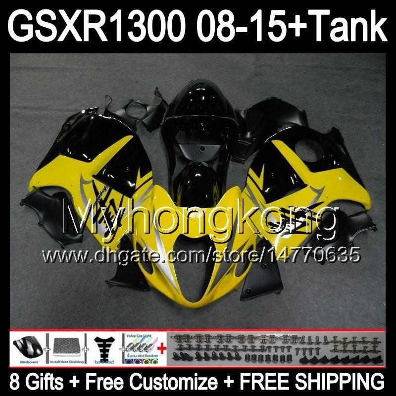 8gifts gloss yellow Per SUZUKI Hayabusa GSXR1300 2008 2009 2010 2011 14MY141 GSXR-1300 GSX R1300 GSXR 1300 2012 2013 2014 2015 carenatura nera