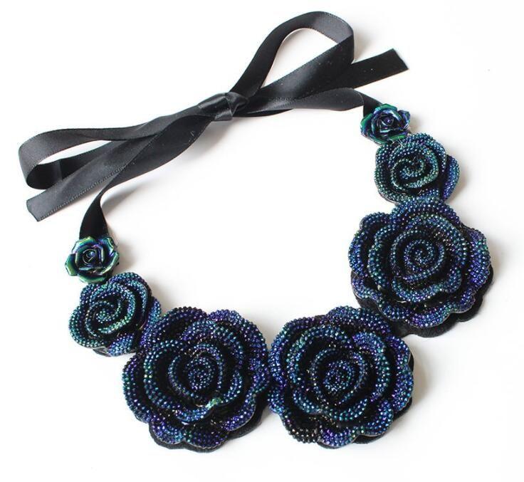 Fashion Charm Crystal Resin Rose Statement Bib Choker Pendant Necklace Jewelry