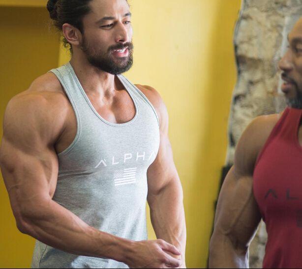 남자 여름 체육관 휘트니스 보디 빌딩 두건 탱크 탑 패션 남성 크로스 맞는 의류 느슨한 통풍 민소매 셔츠 조끼