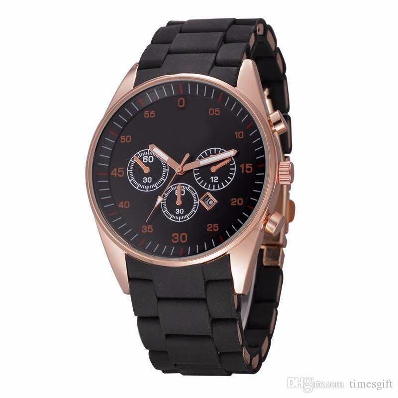 2018 Мода популярные мужские спортивные часы Мягкий силиконовый ремешок дата календарь качество Япония Кварцевые наручные часы Relogio Masculino