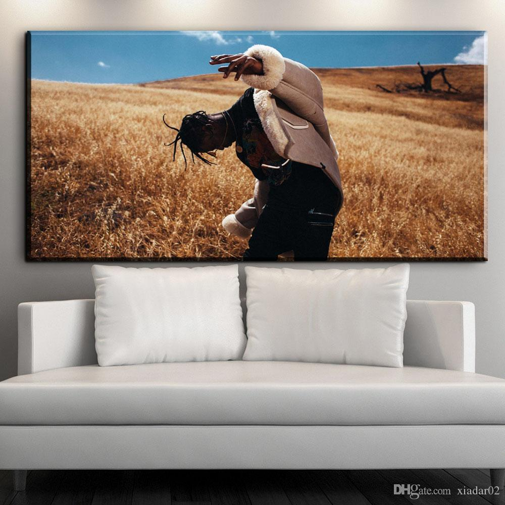 ZZ1616 Travis Scott American Hip Hop Music Rapper Star Custom Art Print Poster Canvas Painting Wall Picture Home Decor art