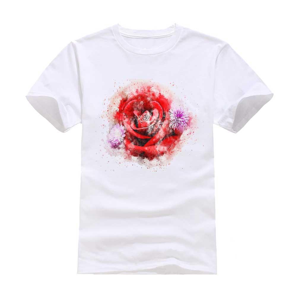 Romantische Rosen neue Mode Mann T-Shirt Baumwolle O Hals Kurzarm personalisierte einzigartige männlich Tops Tees Großhandel