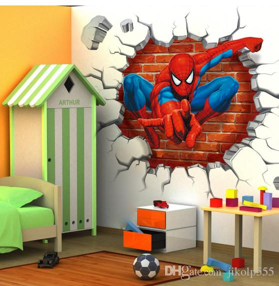 2017 New Spider Man Children Bedroom Stereo Wall Background Wall Stickers Can Remove The Wholesale Trade Wall Decal Stickers Wall Decal Tree From