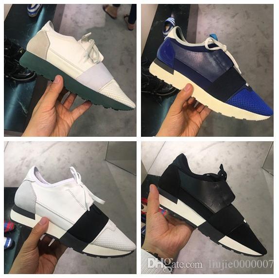 Kutu Ucuz Sneaker Yüksek Kalite Nü Mavi Siyah Kırmızı Beyaz Irk Runner Casual Ayakkabı Erkek Kadın Moda Marka Düşük Kesim Dantel Yukarı Mesh Trainer ile