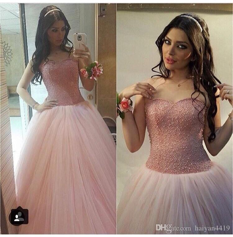 2017 Vintage Cheap Quinceanera Ball Gown Dresses Sweetheart Crystal Beaded Pink Puffy Tulle Long Sweet 16 Party Dress Prom Evening Gowns