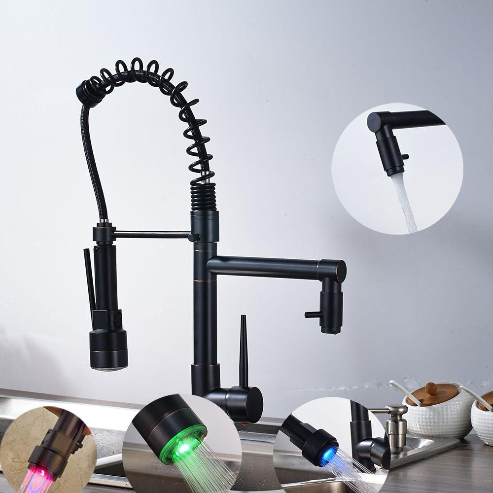 LED Spring Oil Rubbed Bronze Kitchen Faucet Swivel double Spouts Single Hole Sink Deck Mount Mixer Tap