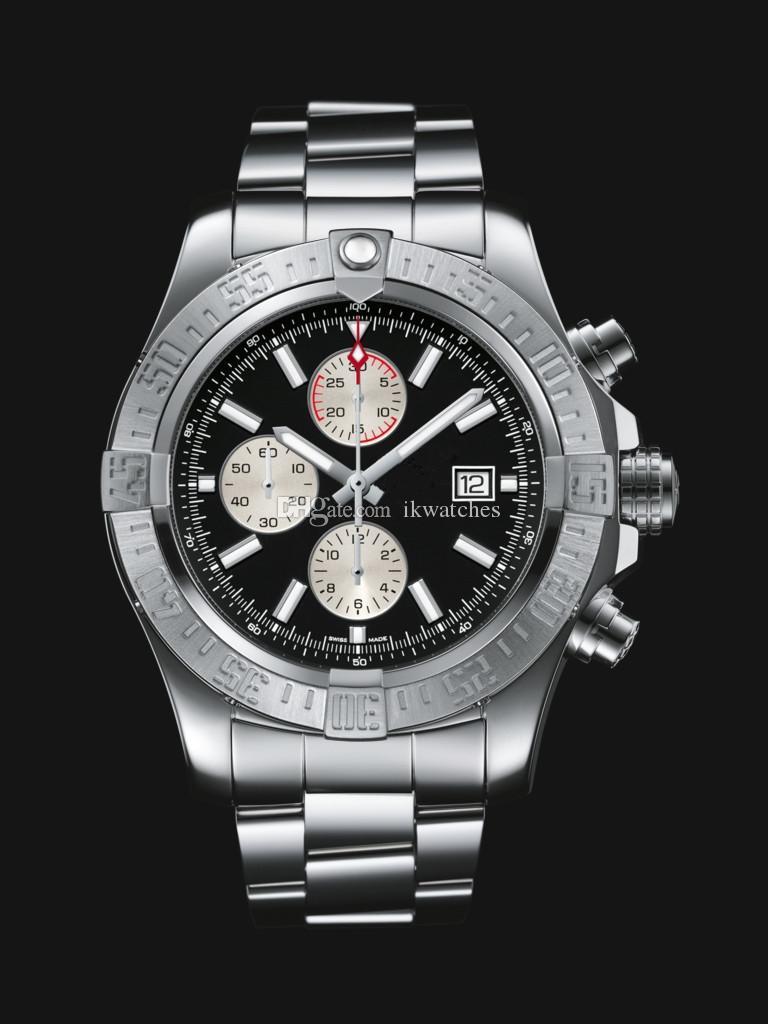 TOP Qualität Mann Stahl Uhrquarz Stoppuhr Male aus rostfreien Uhren Chronograph Armbanduhr 216