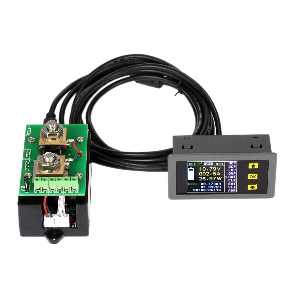 Freeshipping Ammeter Voltmeter Wireless Digital Bi-directional Voltage Current Power Meter Capacity Coulomb Counter DC 0.01-100V 0.1-100A