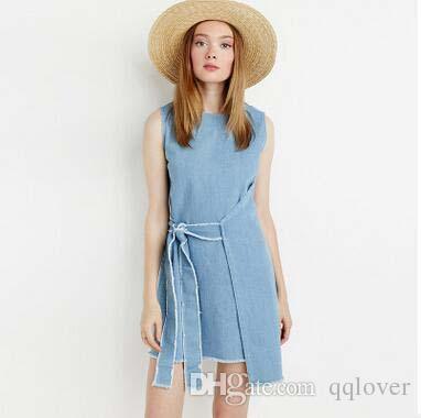 Sommer neueste mode asymmetrische frenulum getäfelten ärmellosen baumwolle dress frische denim blau dress lässig