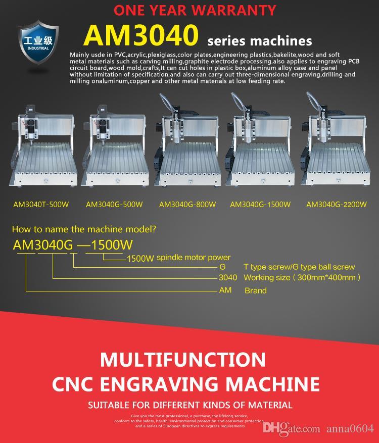 máquina de grabado portátil del cnc del router del CNC 3040 para la placa de circuito del pcb del pvc