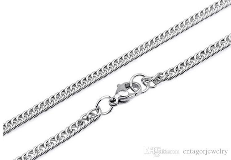 "Largura 2.0mm / 2.5mm / 3.0mm Aço Inoxidável 316L Duplo Curb Chain Necklace Linked (18 ""-24"" polegadas)"