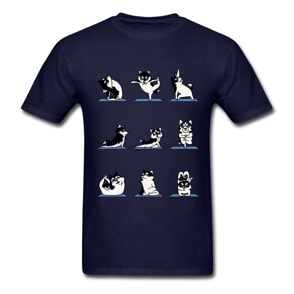 Мужская мальчик Хабар собака любитель смешные Хаски йога футболка белый с коротким рукавом пользовательские футболки для мужчин