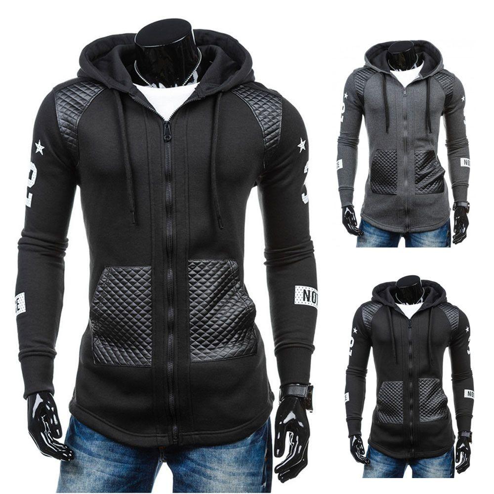 All'ingrosso-KLV marchio di abbigliamento Slim Mens Coat Casual in pelle di cotone inverno caldo con cappuccio felpa cappotto giacca Outwear jaqueta masculina 2016