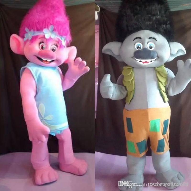 Venda quente 2017 Trolls Traje Da Mascote papoula Desfile de qualidade Palhaços Palhaços de Dia Das Bruxas atividade partido Fantasia Outfit