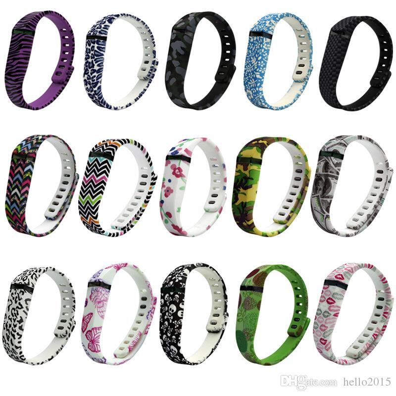 Fitbit Flex Replacement Band Color Printing Wireless Bracelet Wristband Soft TPU Rubber Band Silicone Strap with Metal Clasps