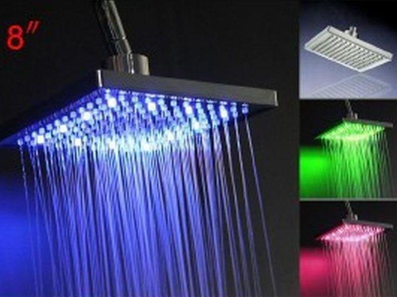 "2017 new 8 ""Square Temperature Sensor 3 Colors Bathroom LED Light Rain Shower Head Faucet free shipping"