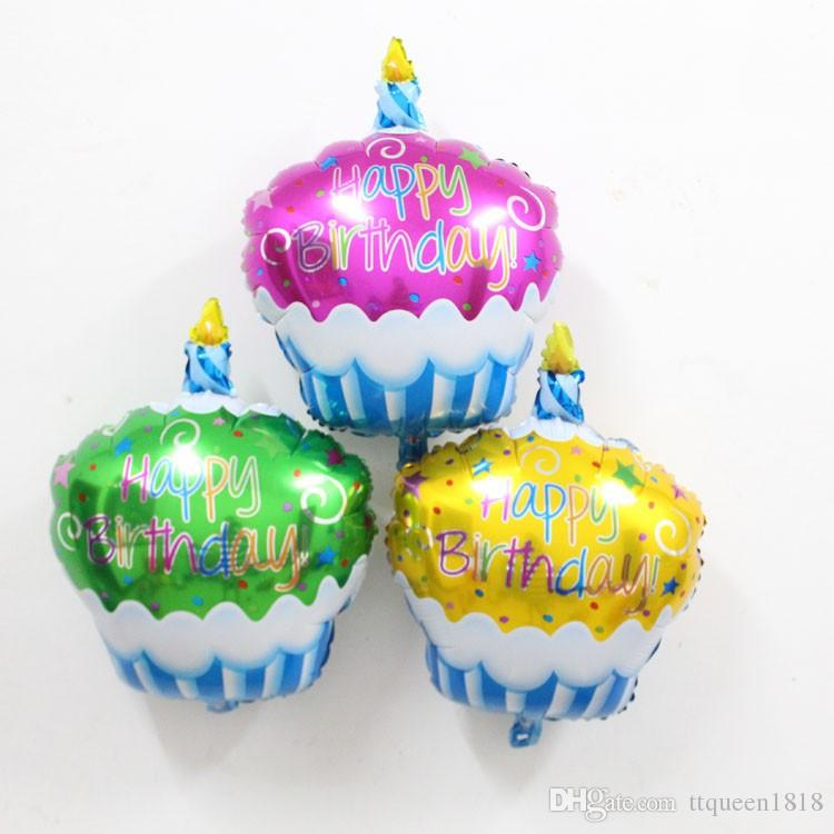 Birthday Cake Candle Air Balls Helium Foil Balloons Happy Party Decorations Kids International