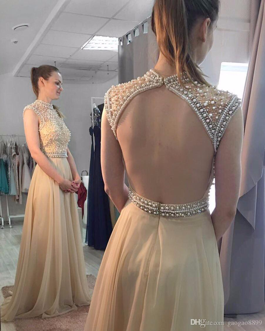 Champagne Chiffon Pearls Elegant Prom Formal Dresses 2019 Modest High Neck Backless Full length Occasion Evening Pageant Gowns Wear